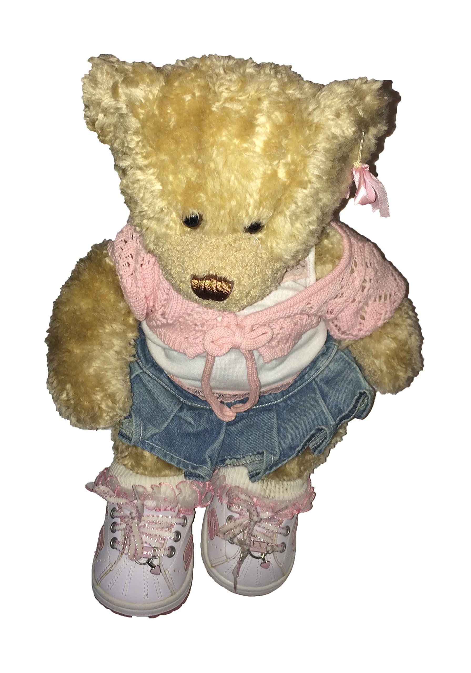 Buy Build A Bear Bear Wearing A Jean Skirt White With Pink Lace