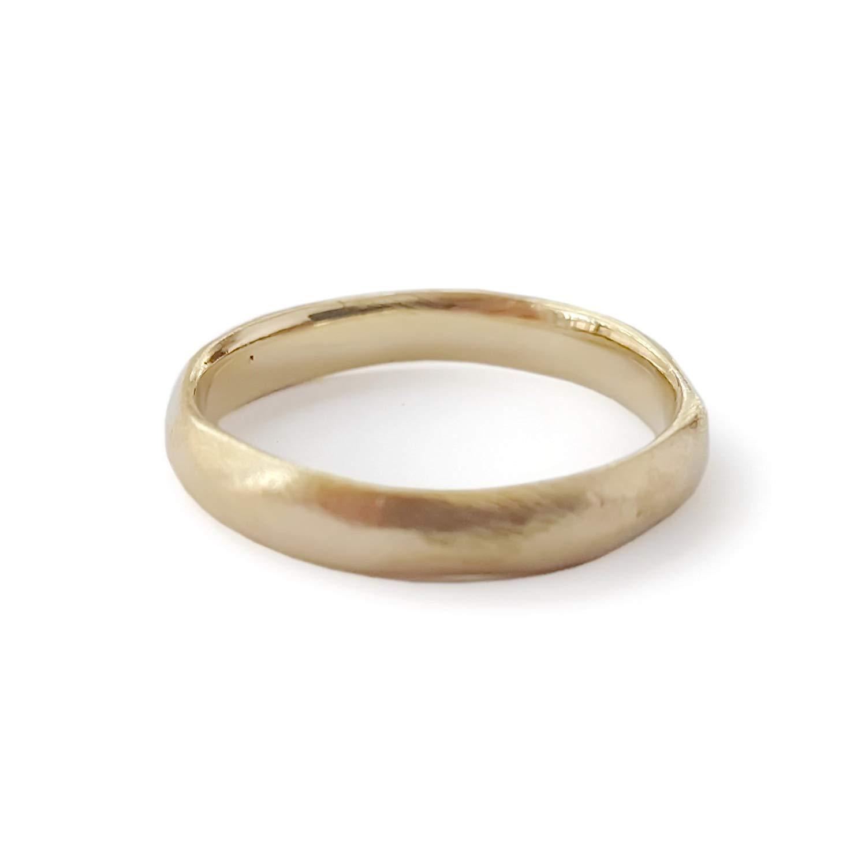 Thin matte gold band, brush finish wedding ring, Durable ring, Rustic band, Textured 14K gold band, handmade band, Men Woman Organic ring, simple wedding band