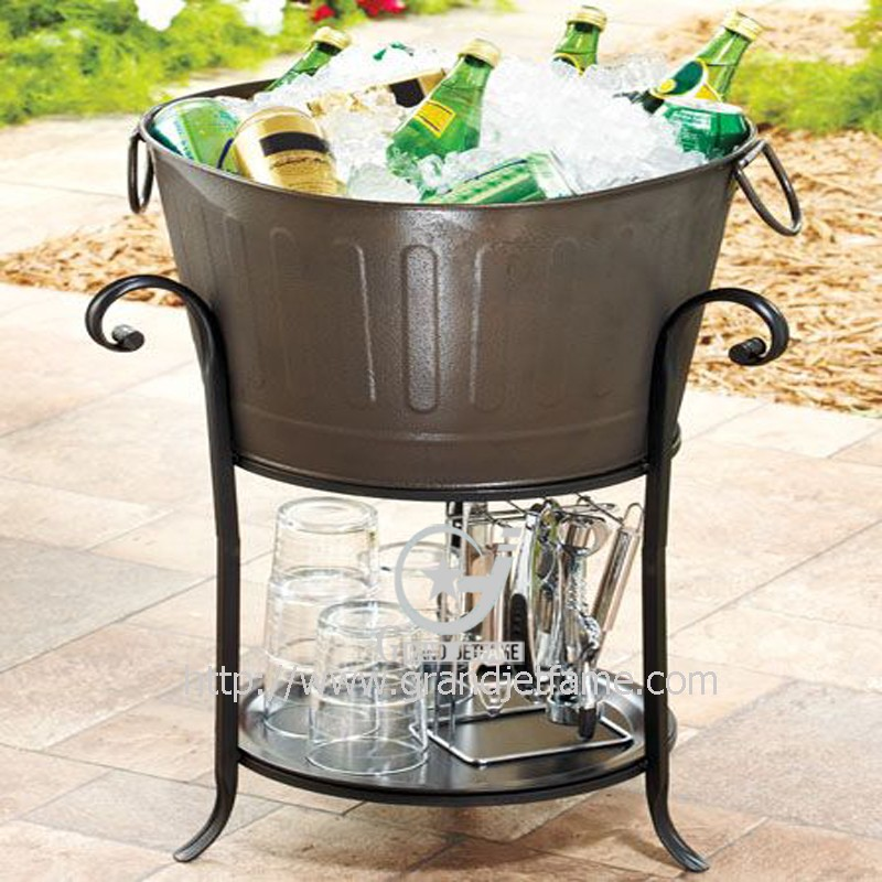 Metal Party Tub With Stand Ice Bucket Beverage