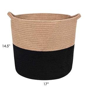 QJMAX High Quality Jute Rope Storage Large Cotton Basket Storage For Laundry Toy Blanket