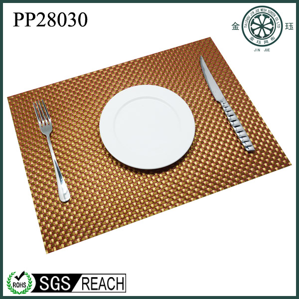 vinyl rattan furniture material by roll vinyl woven golden color place mat hotel golden color napkin tray non slip mat