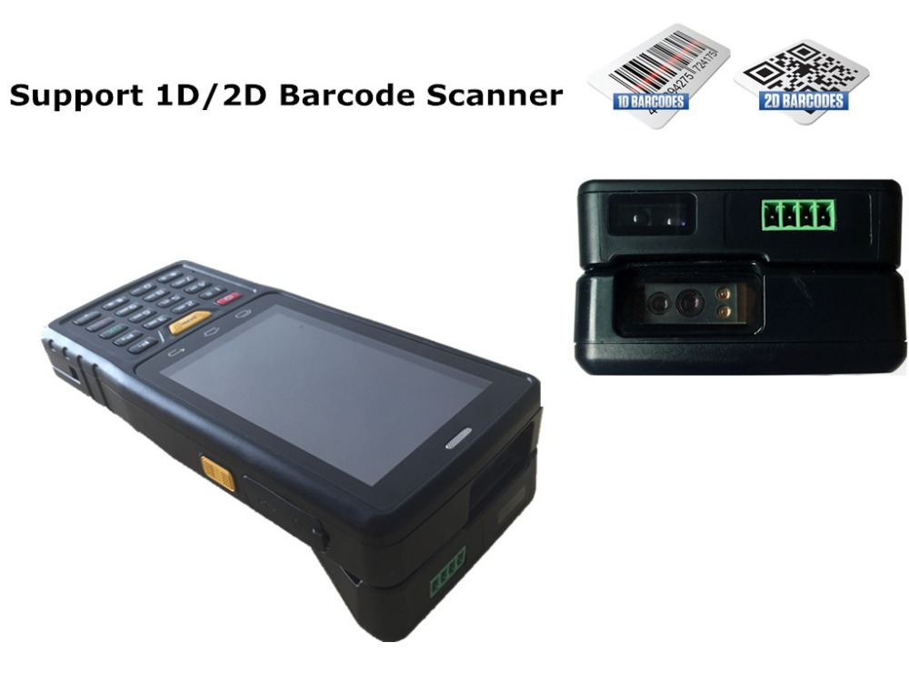 Promotional Sample 4 inch Android handheld pda 2d barcode scanner ,support UHF RFID Reader Impinj R2000 Chip