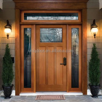 Contemporary Exterior Fancy Wood Window Entry Door With 2 Side Lites Top  Transom   Buy Exterior Door,Entry Door,Side Lites Product On Alibaba.com