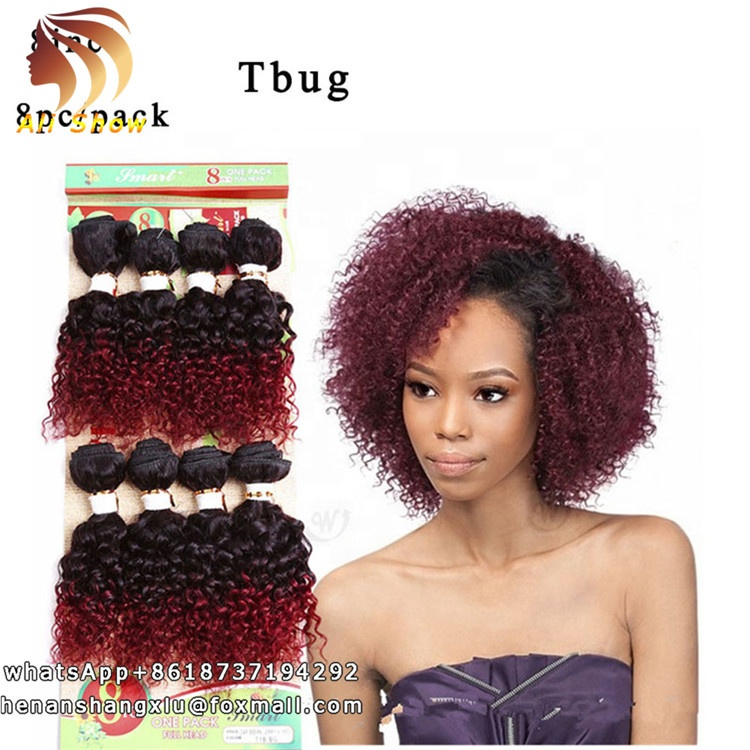 8bundles Ombre Burgundy French Curly Weave Virgin Brazilian Curly Hair Afro Kinky Curly Human Hair Eurasian Raw Hair Extension, Natural black tbug t27 t30