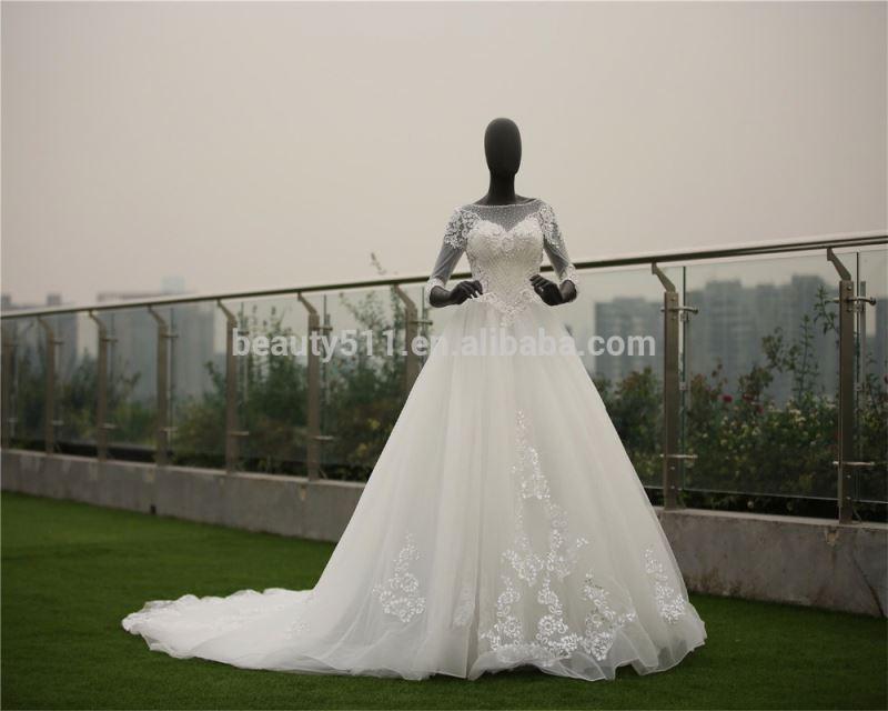 2018 New plus size wedding dress vestido noiva women dresses wedding gown with sleeves