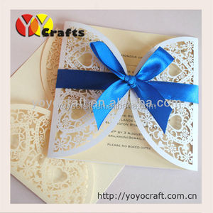 Hot for USA laser cut wedding souvenirs decorations loving hearts invitations card gifts insert with royal blue ribbon