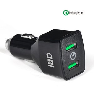 IBD 2018 new product hot sale on Amazon qualcomm qc3.0 car charger, usb car charger dual port for mobile phone