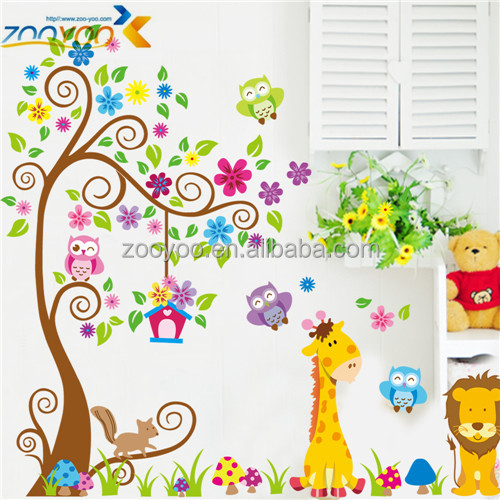 Zooyoo ZY7251 Removable PVC cartoon owl tree animal 3d wall decals decorative wall stickers home decor