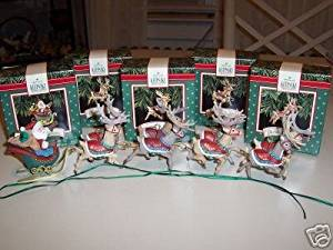 Set of Five Hallmark Ornaments - Santa and His Reindeer Collection - Santa Claus, Dasher and Dancer, Prancer and Vixen, Comet and Cupid, and Donder and Blitzen