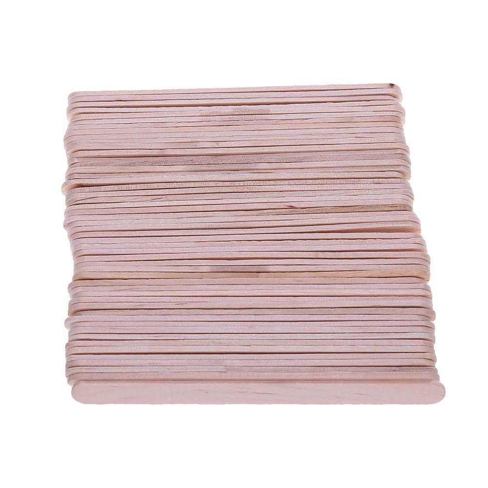 Natural Wooden Food Grade Popsicle Craft Sticks, 4.5 inch Wood Coffee Stirrers for Crafters, Teachers, and Students Crafts Homemade and DIY Dessert Making, 100 Count