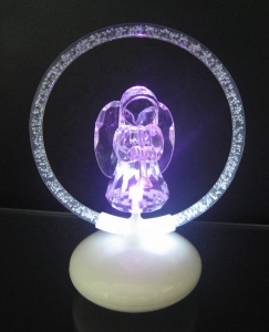 battery operated led light up acrylic christmas angel