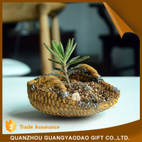 China new design popular resin bamboo basket ornament