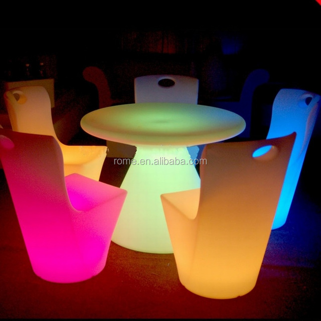 Cocktail Shape Little Led Light Round Dining Table Also Used For Tea Table  And Coffee Table