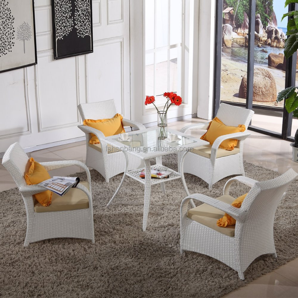 Indoor Outdoor Home Casual Patio White Resin Wicker Outdoor Table Chairs Furniture Set