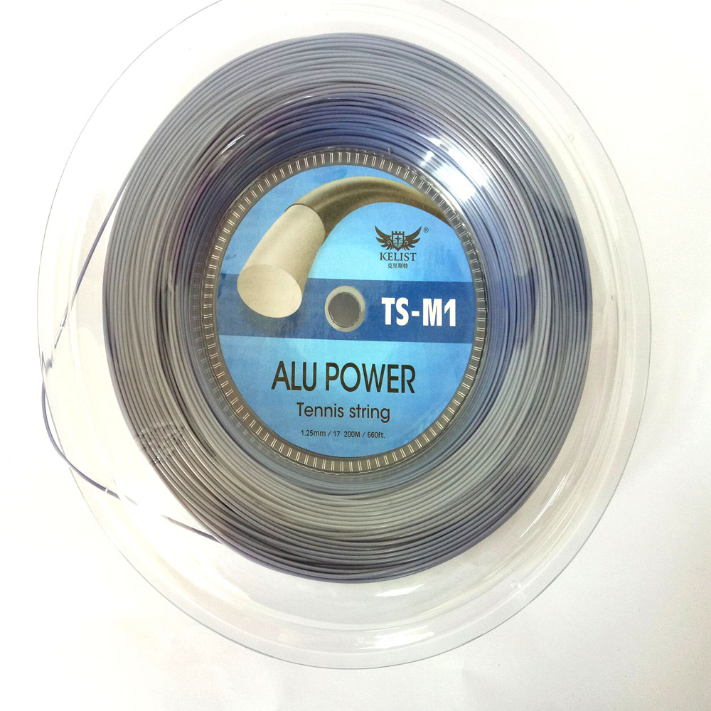 Profession OEM Branded High Quality Cheap Alu power Polyester 1.25MM/200M/Reel Head Tennis String For Tennis Racket, Black/white/red/gray/golden