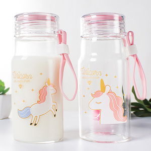 Hot Selling Product Unicorn Glass Water Bottle Student Water Bottle