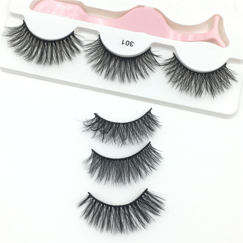 Private Label faux mink Lashes extension 3 pairs lashes with tweezer  Multi-layered Real 3D Mink Long Eyelashes