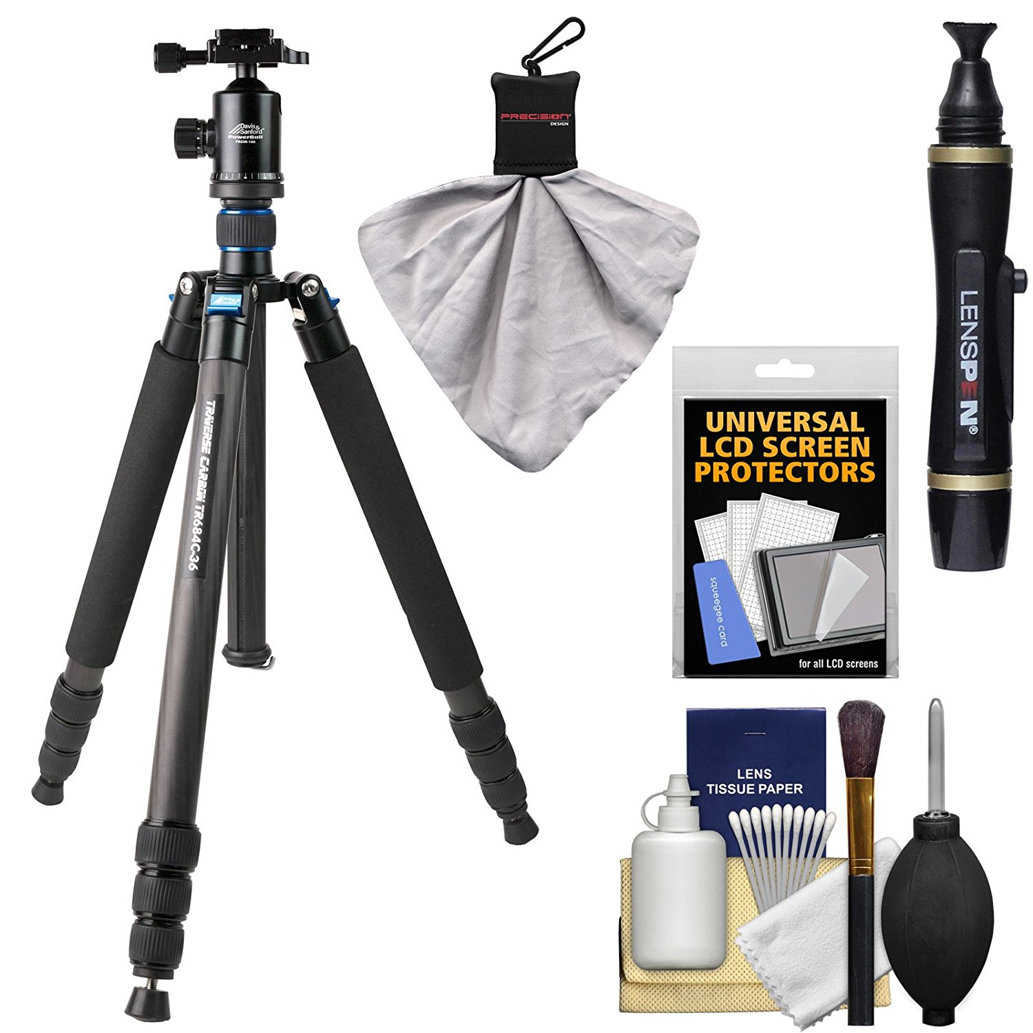 "Davis & Sanford 68"" Traverse Large Carbon Fiber Tripod with Dual Control Ballhead & Case with LensPen + Accessory Kit"