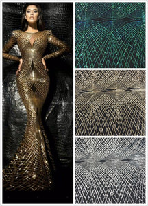 New Gold sequins african lace fabrics french tulle lace for garment HY0396