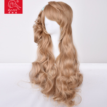 long hair blonde body wave synthetic hair butterfly knots synthetic wig