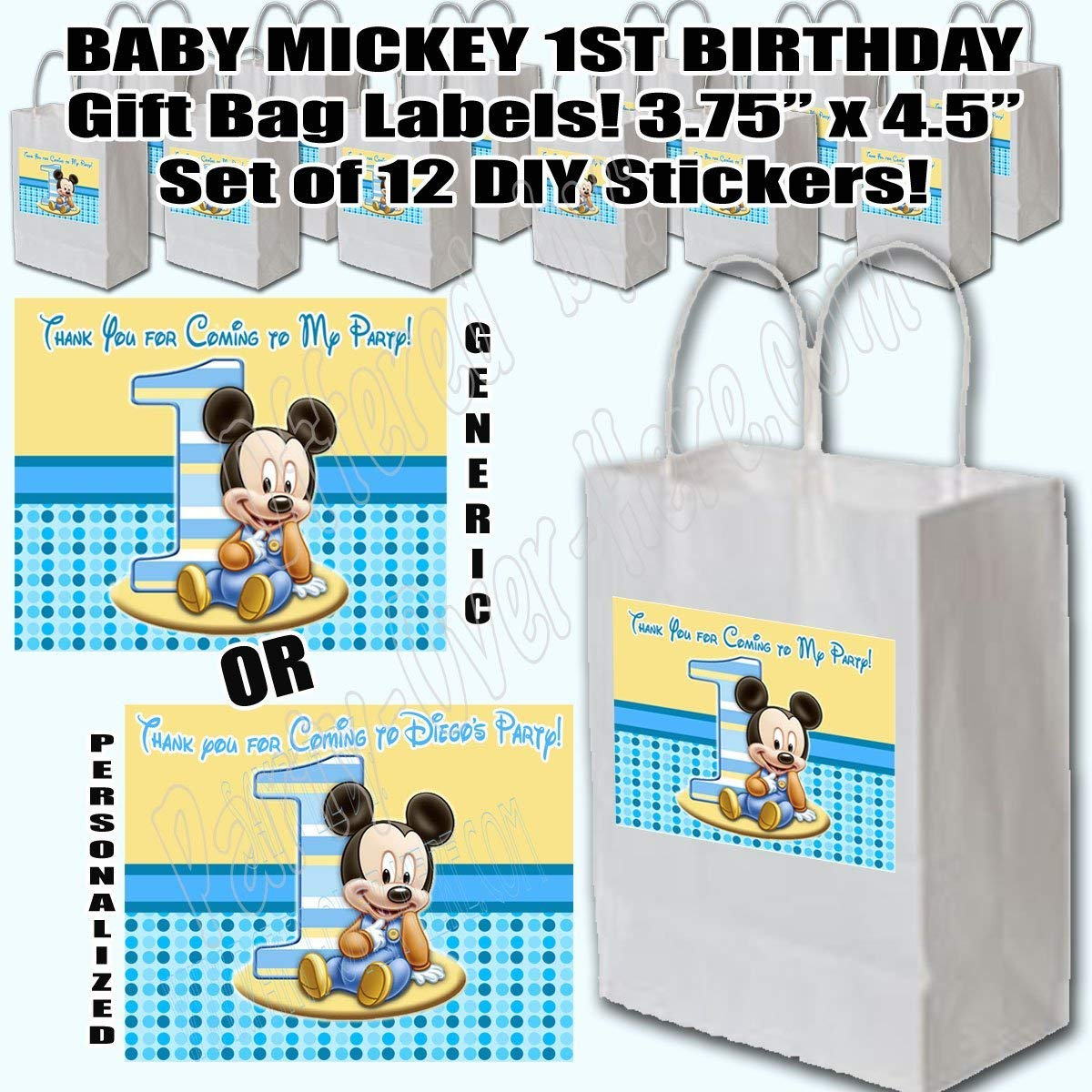 Get Quotations Baby Mickey Mouse 1st Birthday Party Favors Supplies Decorations Gift Bag Label STICKERS ONLY 375