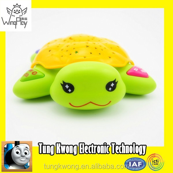 SALE new product 2015 good quality plastic electric yellow baby turtle flashing light toy
