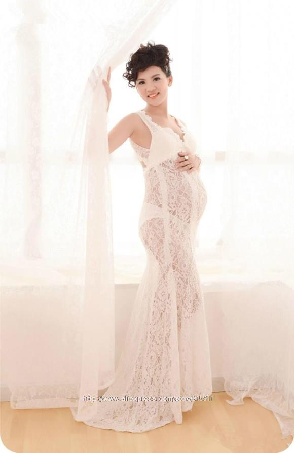 7d89729e13f Buy White Maternity Sexy Long Lace Dresses Pregnant Photography Props Fancy  Pregnancy Photo Shoot Maternity Clothes Z3085 in Cheap Price on  m.alibaba.com