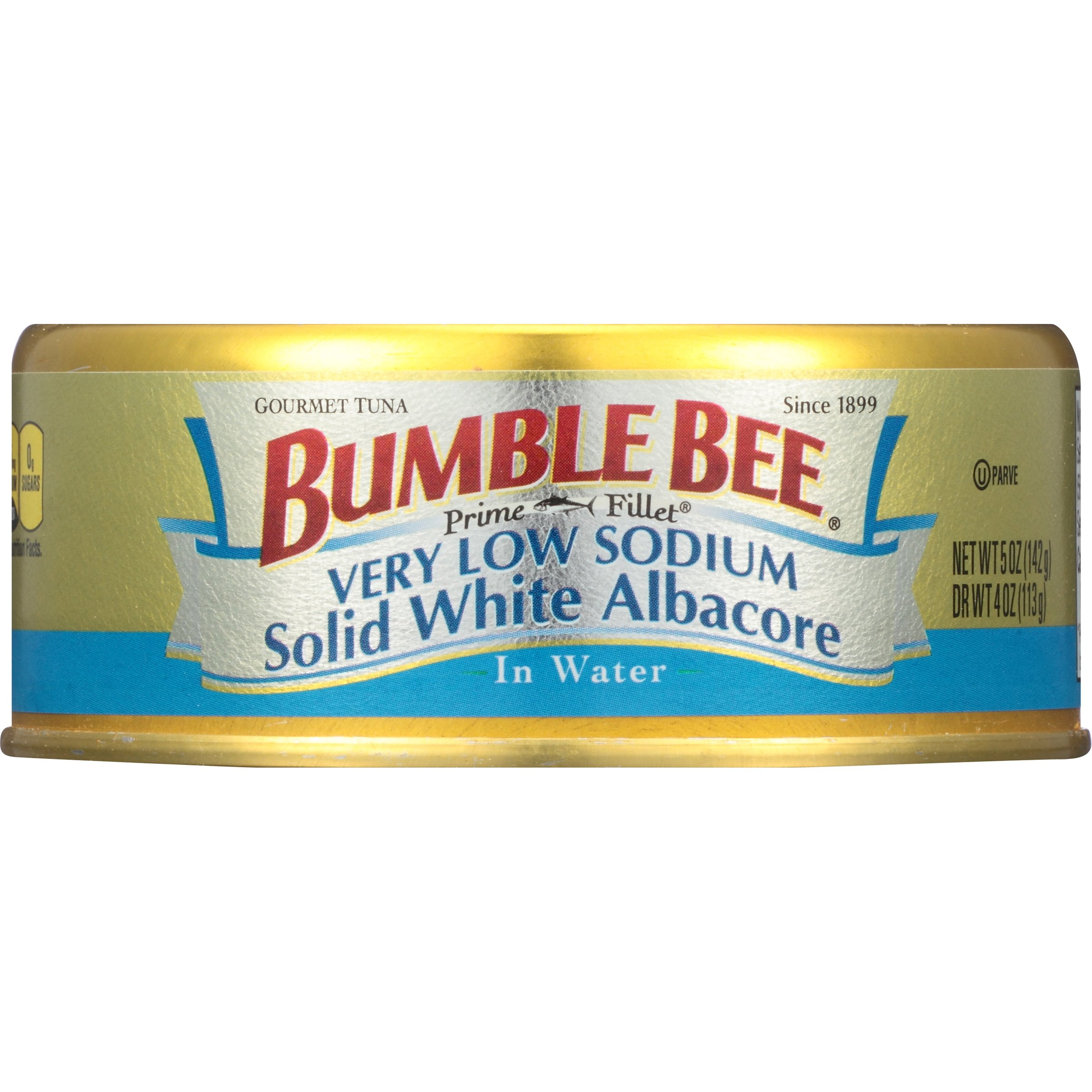 BUMBLE BEE Prime Fillet Solid White Albacore Tuna in Water, Very Low Sodium, Canned Tuna Fish, High Protein Food, 5oz Can (Pack of 12)