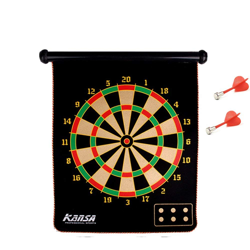 Portable Roll-up Magnet Dart Board Set Including 6pcs Safety Dart Flights Hanging Magnetic Dart Board for Leisure Entertainment, Sport Games, Party Fun