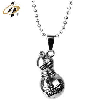 Novelty products free design custom 3d zinc alloy silver Gourd-shaped metal  dog tag with necklace
