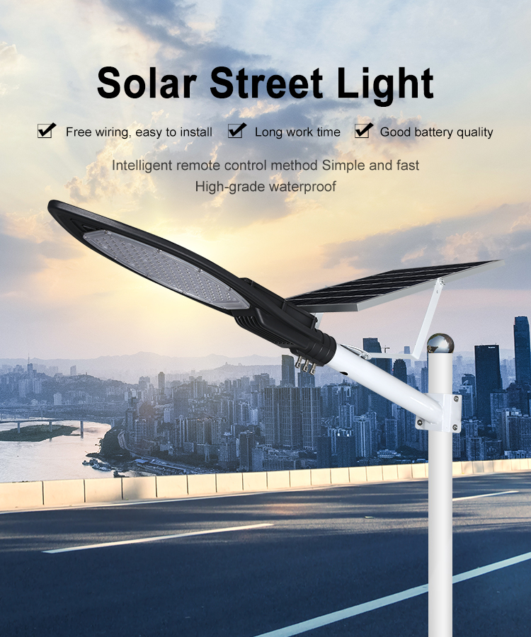 Hot sale IP65 waterproof outdoor bridgelux 30w 50w 100w led solar street lamp