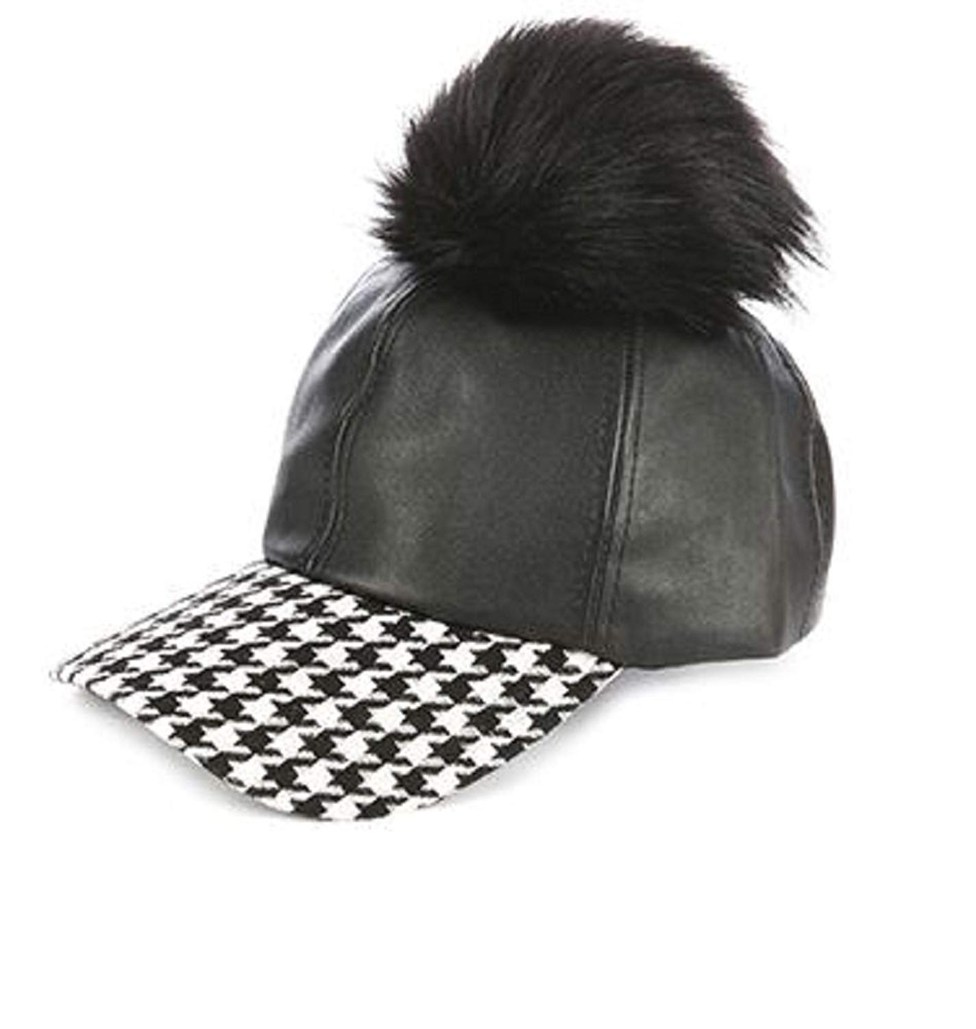 948d6c1d Get Quotations · RI001 Faux Fur Pom Pom Baseball Cap in Faux Suede Black  with Houndstooth Print Visor