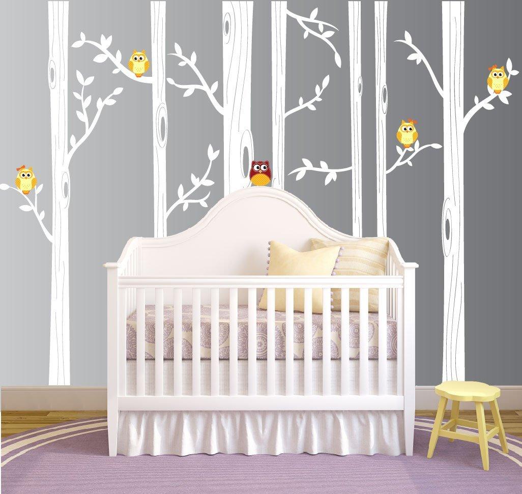 Get Quotations Nursery Birch Tree Wall Decal Set With Owl Birds Forest Vinyl Sticker