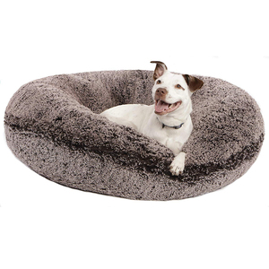 B691 Frosted Willow Luxury Shag Extra Plush Faux Fur Pet Dog Bed Round Fluffy Furry Luxury Pet Products