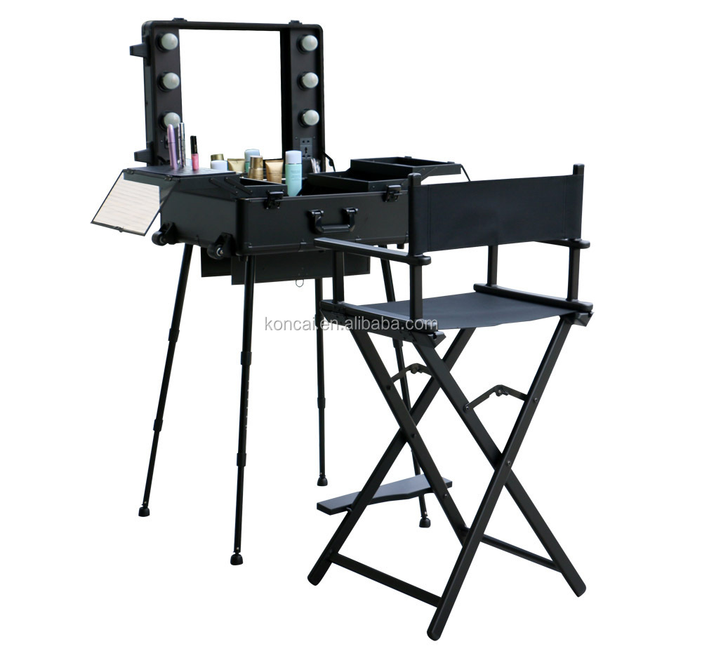 Professional Make Up Station /rolling Trolley Makeup Train Case ...