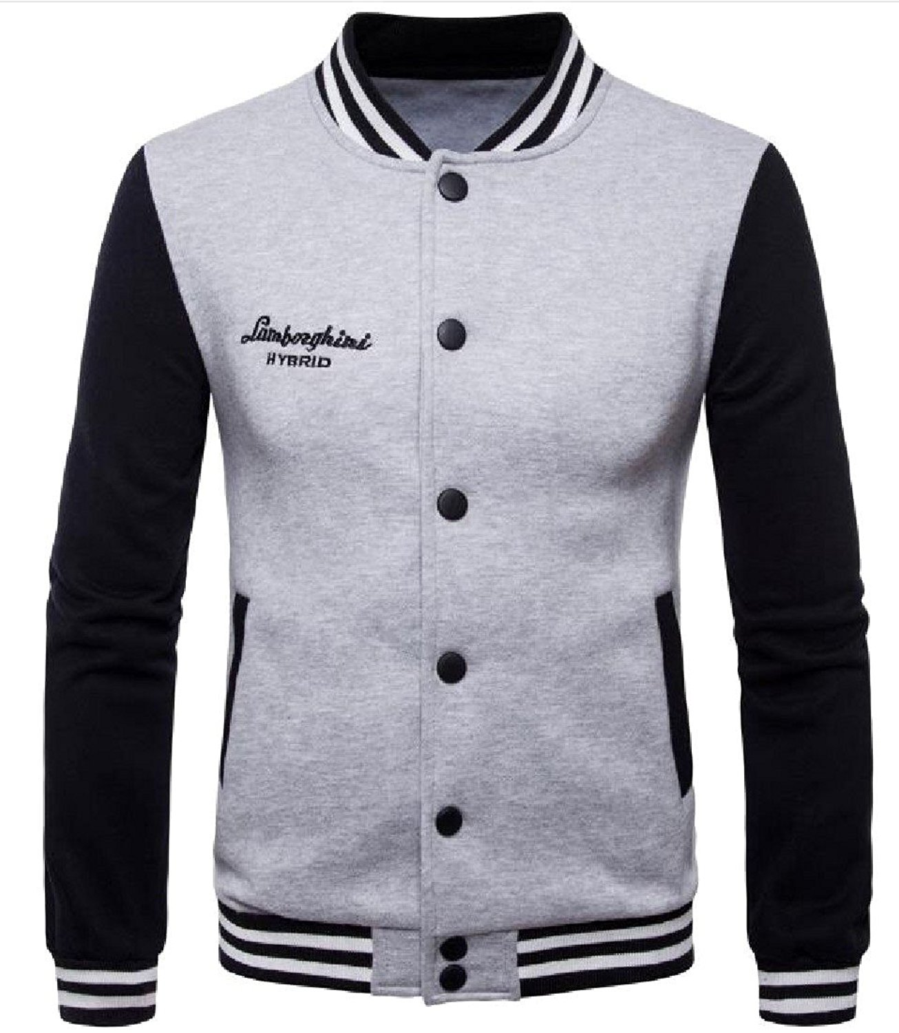 Abetteric Mens Striped Trim Stitching Stand Collar Fleece Baseball Jacket