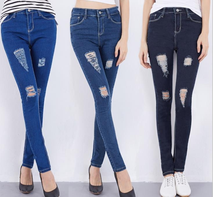 Alibaba best seller Summer women ripped jeans pants ladies tight jeans