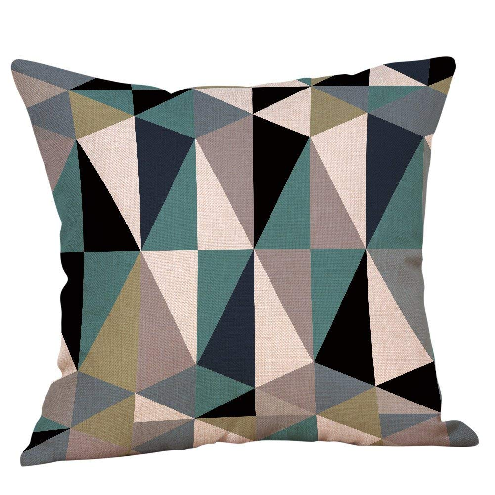 "Pgojuni Geometric Printed Cotton Linen Square Pillow Case Decorative Cushion Pillow Sofa Cushion Cover 1pc 18""x18"" (G)"