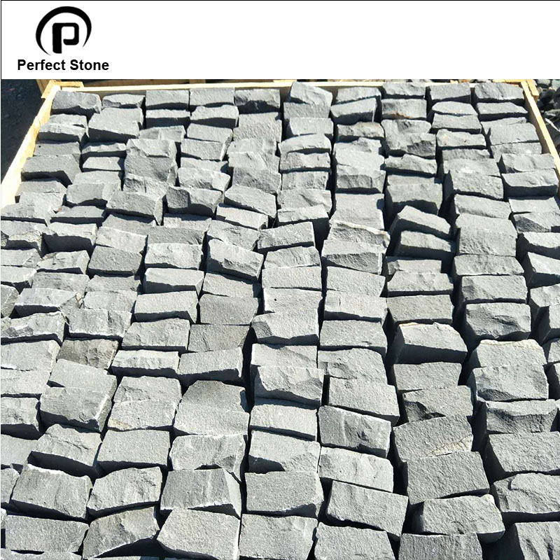 G684 black basalt granite cobblestone paver for sale