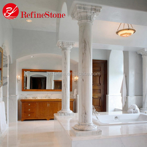 Solid or hollow customized white marble pillar and column