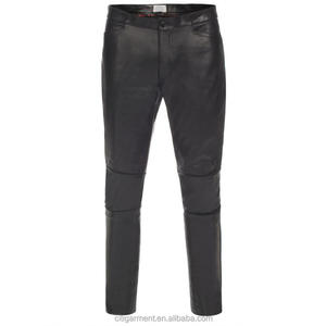 Men's Slim-Fit Black Calf Leather Biker Trousers