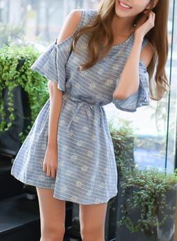 884da08f87d B32667A 2017 New Summer Korea style ladies casual dress cotton linen dress