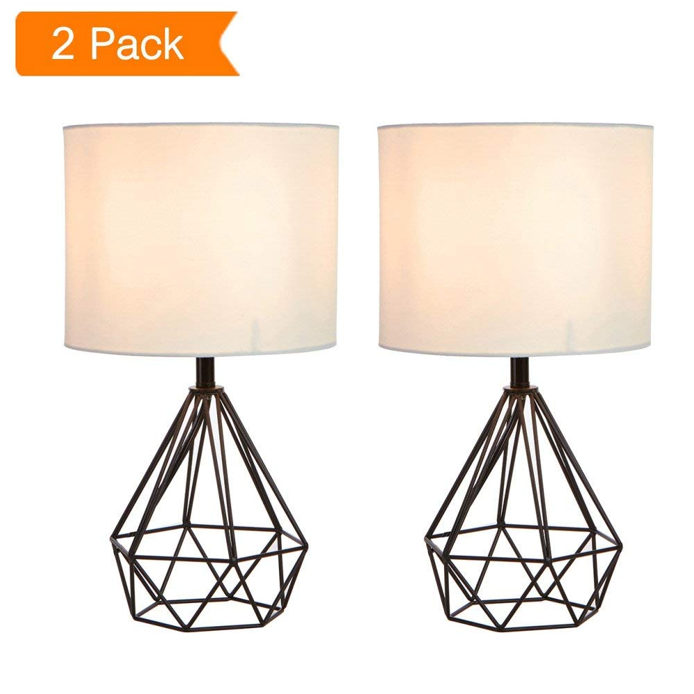 "SOTTAE 16"" Modern Lamp Black Hollowed Out Base Livingroom Bedroom Bedside Table Lamp, Desk Lamp With White Fabric Shade(Set of 2)"