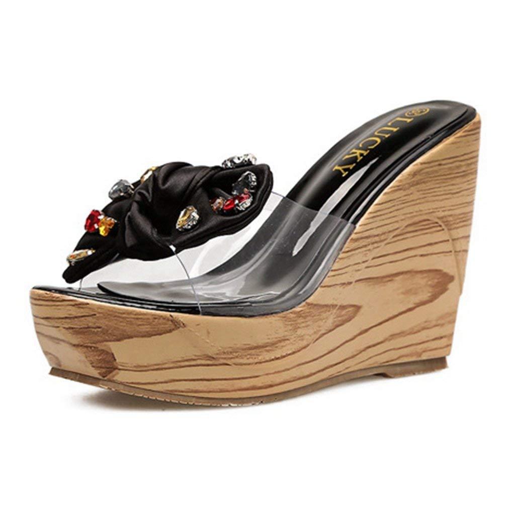 CYBLING Women's Slip-on Open Back Platform Wedge Sandals Bowknot High Heel Slides Shoes