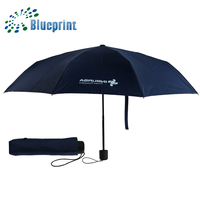 China supplier black compact size totes 3 folding umbrella with bag