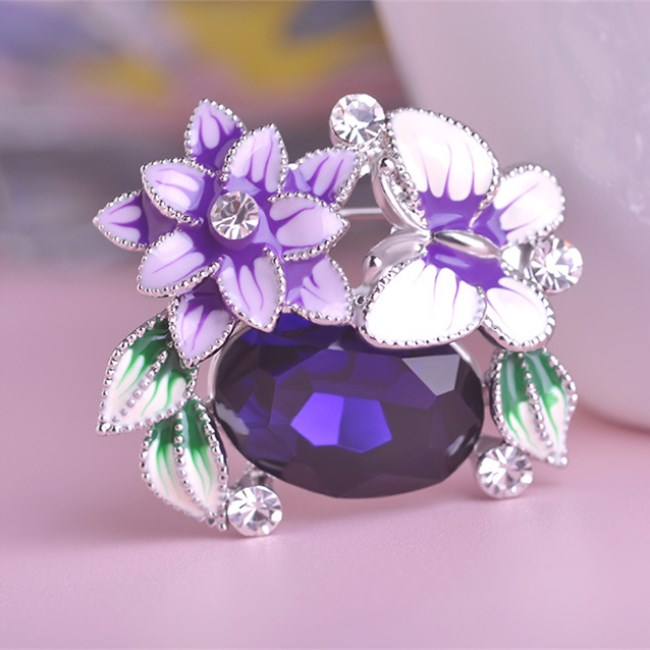 Wholesale New Customized Colorful Enamel Flowers Butterfly Austrian Crystal Hijab Pins Brooches