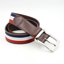Custom fashion grain men leather strap belts with fabric webbing