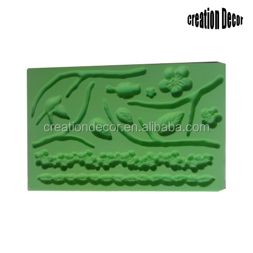 Flower and leaf sugarcraft silicone lace molds for cake decoration
