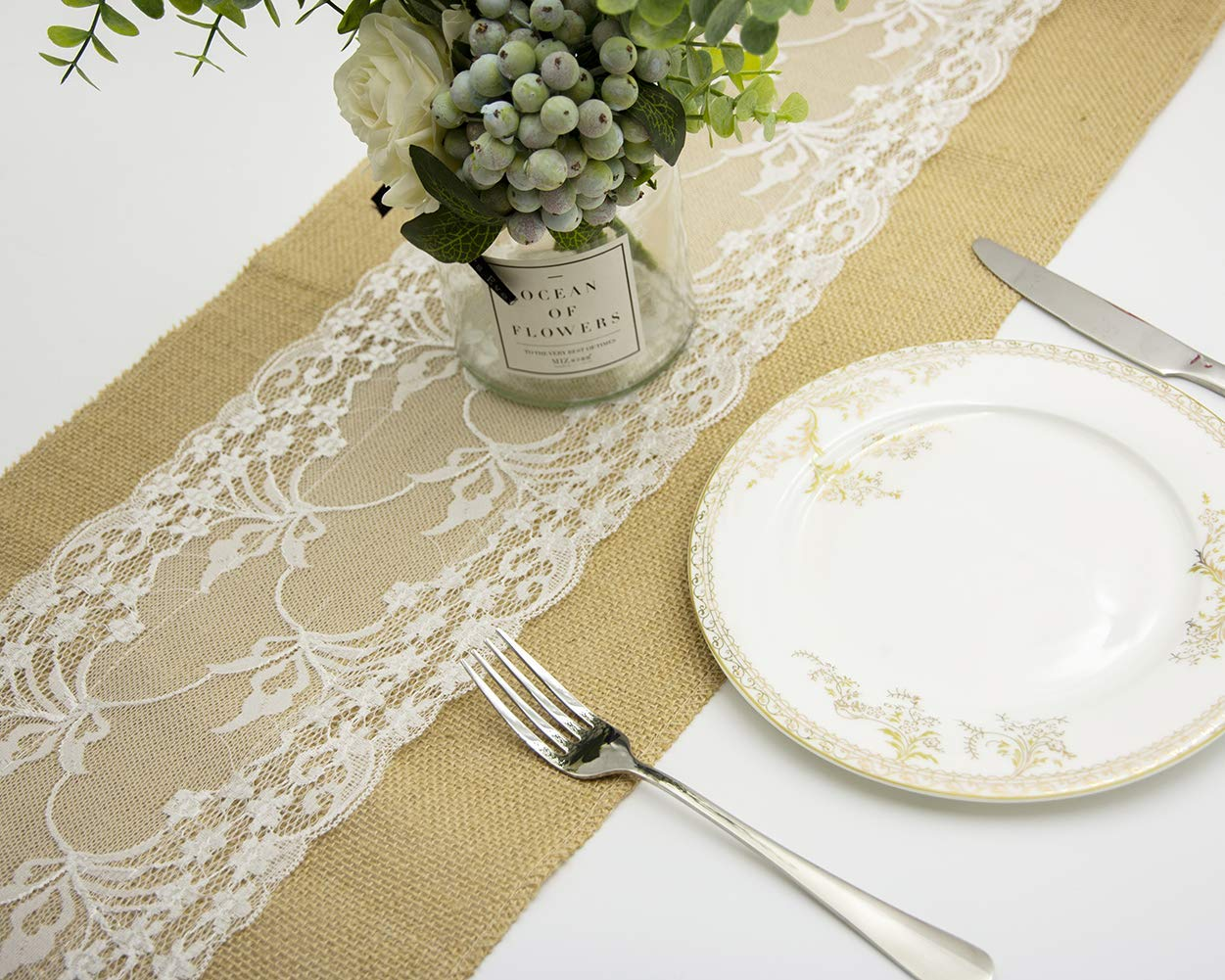 Convetu Table Runner, TR05 Rustic Long Lace Burlap Runners for Table 72 108 inch for Wedding Party Outdoor with Different Lace Pattern Design (108 inch, Type 4)