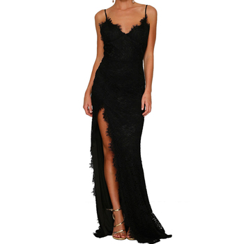Sexy Black Yum Lacy Lace Party Wedding Mermaid Evening Gown